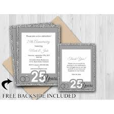 home custom 25th wedding anniversary invitation thank you card silver anniversary image for gallery