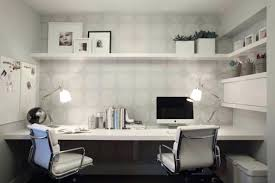 work desk ideas white office. Unique Work Trendy Small Home Office Neutral Dots Wallpaper Built In Working Desk White  Modern Ideas Full Size To Work I