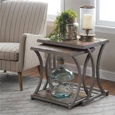 antique pewter metal reclaimed wood rustic coastal set of 2 nesting side tables