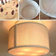 diy drum shade tutorial amazing idea for transforming a ceiling fan to a cute semi flush light fixture