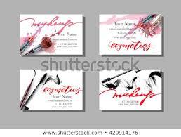 makeup artist business card vector template with makeup items pattern brush pencil