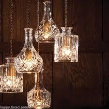 wine lighting. decanter wine perfume bottle pendant light chandelier fabric braided cord retro lighting