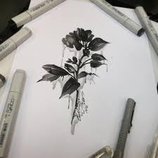тату эскиз цветок в теневой палитретехника отпечатка Flickr