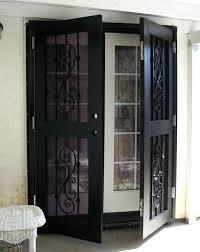 home security screen doors wrought iron storm with glass and lo wrought iron security door
