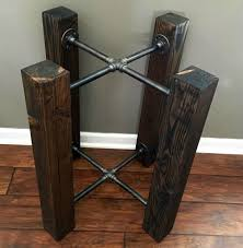 TABLE BASE Wood Beam & Iron Pipe Round/Square Dining - Custom Options