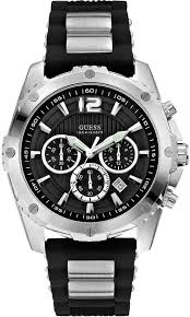men s guess black silicone bracelet chronograph watch u0167g1