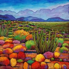 desert landscape painting organ pipe by johnathan harris