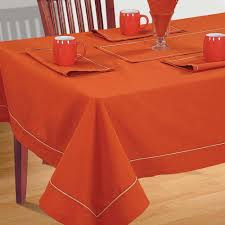 Shalinindia Cotton Orange Color Table Linens Set For 6 Seat Dining Tab
