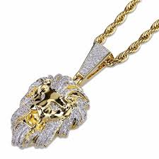 new hip hop micro pave copper with zircon lion head pendant necklace jewelry bling bling 24inch