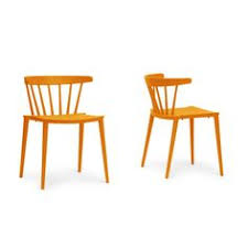baxton studio finchum orange plastic stackable dining chair set of 2