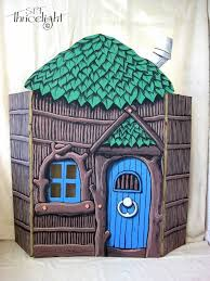 the three little pigs stick house painted cardboard with acrylic paints great for acting out the story