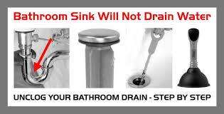 bathroom sink will not drain water