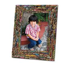 each unique frame is made out of recycled multicolored pieces of broken glass by indian women employed at rahab s rope glass is smooth not sharp
