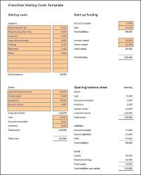 startup costs franchise startup costs template plan projections