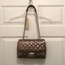 Michael Kors New Hannah Quilted Silver Gray Leather Shoulder Bag ... & Michael Kors Purse Handbag Cross Body Quilted Metallic Shoulder Bag.  12345678910 Adamdwight.com