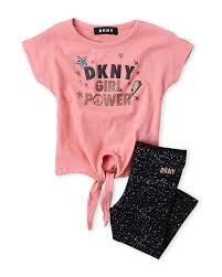 Dkny Baby Size Chart Dkny Girls 4 6x Two Piece Graphic Tee Legging Set