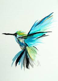 hummingbird flight tropical blue lime bright original watercolor painting 5 x 7