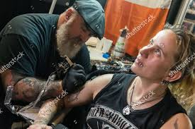 Visitor Gets New Tattoo 8th Tattoo Festival Editorial Stock Photo
