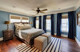 View In Gallery Deep Navy Curtains For The Transitional Bedroom [Design:  Echelon Custom Homes]