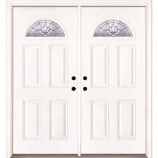 white double front door. 74 In. X 81.625 Medina Zinc Fan Lite Unfinished Smooth Right-Hand White Double Front Door