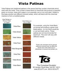 Patina Color Chart The Compleat Sculptor Vista Patinas