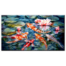 xh2571 watercolor painted koi fish oil painting prints art for living room decoation in painting calligraphy from home garden on aliexpress com