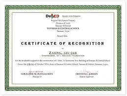 Principal Award Certificate Certificate Of Recognition From Principal Of Tanauan Ii