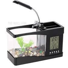 Superb Mini USB Desktop Aquarium Fish Tank With Clock LCD Display And LED Table  Lamp   Black