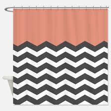 grey and coral shower curtain. coral black white chevron shower curtain grey and n