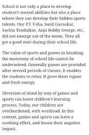 write an essay on school games and sports should be compulsory in school write an