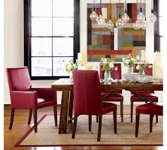 modern dining room furniture sets with red armchairs made of leather and rectangular wooden table