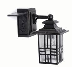 Home Depot Ca Outdoor Lighting Mission Style 60w 1 Light Black And Bronze Outdoor Wall Lantern With Built In Electrical Outlet