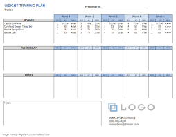 weight training plan for excel weight training plan template
