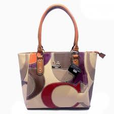 Coach Big Logo Medium Tan Ivory Satchels DXV