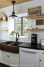 farmhouse kitchen design with matte black granite counter tops