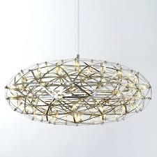 light stainless steel led pendant lights lamps firework flat ball shape living room s round