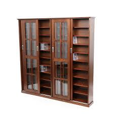 Sliding Door Dvd Cabinet Large Wooden Media Dvd Storage Cabinet With Sliding Glass Doors Of