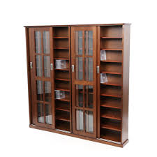large wooden media dvd storage cabinet with sliding glass doors