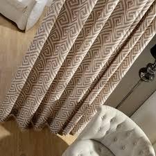 greek key light brown curtain voila