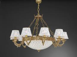 14 lights golden brass chandelier with lamp shades