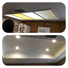 removal of tray ceiling and old fluorescent lighting installation of recessed led lights and accent crown molding az recessed lighting installation