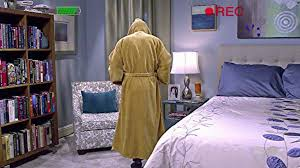 the big bang theory howard wolowitz wears his brown hooded jedi order bathrobe in his apartment