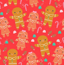 cute gingerbread background. Delighful Cute Cute Gingerbread Cookies Seamless Christmas Pattern Red Background Stock  Vector  87754138 Intended E