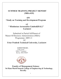 Training Report Cover Page A Project Report On Training And Development Of Hal By