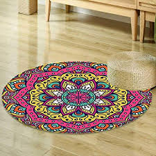 Navy Blue Living Room Gorgeous Amazon Mikihome Round Rugs For Bedroom Ethnic Mandala Decor