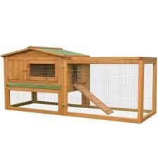 pawhut 2 floor wooden rabbit en coop 79lx58wx68h cm