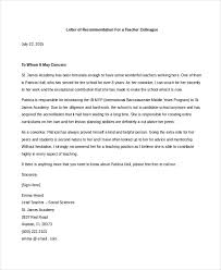 Recommendation Letter Teaching Position Sample Teacher Letters Of Recommendation 6 Free Documents