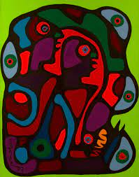 """Morrisseau painted a number of Indigenized Christian subjects throughout  his career. """"Adam and Eve and the Serpent,"""" 1974, Thunder B… 