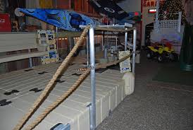 Side view of double Rope Railing Stand installed on an EZ Dock.