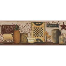 wallpaper topics kitchen border inc hearts and stars decor country catalogs spanish rustic canisters copper black white primitive home art teal metal wall